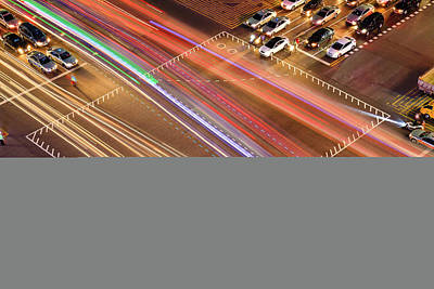 Traffic Trails Of Intersection Poster by SJ. Kim