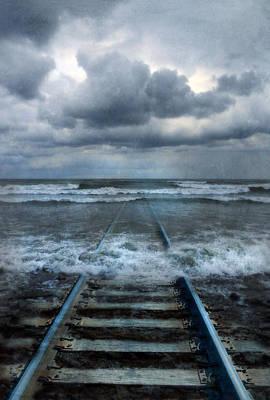 Train Tracks Into The Sea Poster by Jill Battaglia