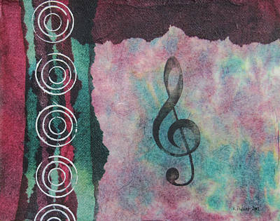 Treble Clef Tie Dye Mixed Media Art Collage Poster