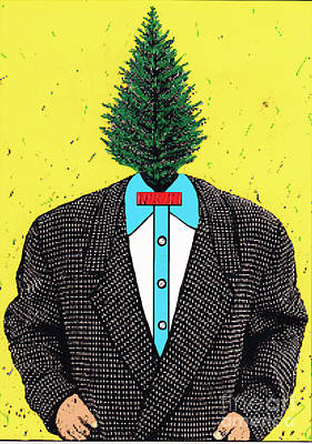 Poster featuring the mixed media Tree Man by Bill Thomson