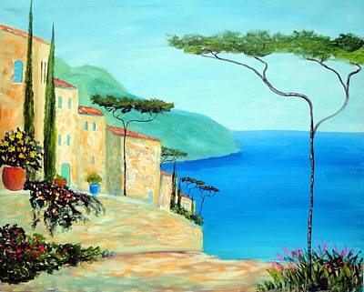 Poster featuring the painting Trees Of The Mediterranean by Larry Cirigliano