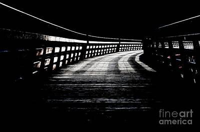 Trestle Corridor Kinsol Trestle Railroad Trail Into Darkness Black And White Poster