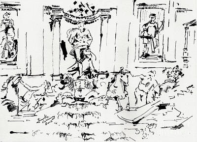 Trevi Fountain Rome Italy Ink Drawing By Ginette Poster