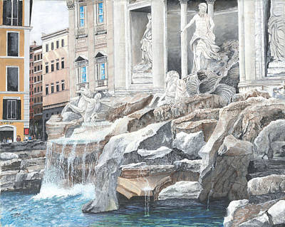 Poster featuring the painting Trevi Fountain Rome by Stuart B Yaeger