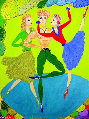 Poster featuring the painting Trio Water-dancers  by Marie Schwarzer