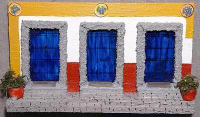 Triple Mexican Blue Doors Poster by Robert Handler