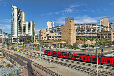 Trolley To Petco Park Poster by Alan Crosthwaite