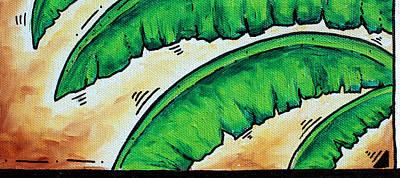 Tropical Banana Leaves Original Coastal Painting Bananas By Madart Poster by Megan Duncanson