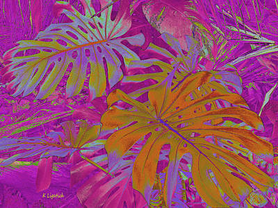 Poster featuring the digital art Tropical Foliage - Pink by Kerri Ligatich