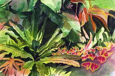 Poster featuring the painting Tropical Garden by Richard Willows