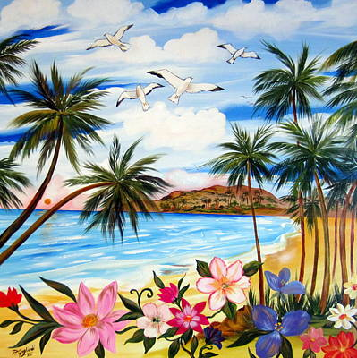 Poster featuring the painting Tropical Paradise by Roberto Gagliardi