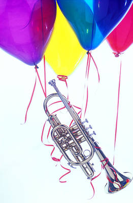 Trumpet Lifted By Balloons Poster