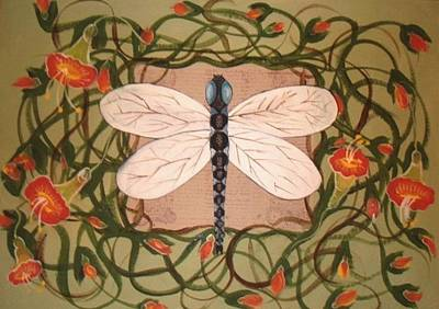 Trumpet Vine With Dragonfly Poster by Cindy Micklos