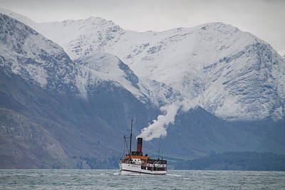 Tss Earnslaw Steamboat Against The Southern Alps Poster