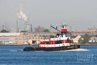 Tugboat Captain D In Newark Bay I Poster by Clarence Holmes