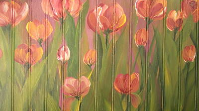 Poster featuring the painting Tulip Field by Kathy Sheeran