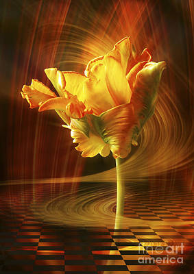 Poster featuring the digital art Tulip In Movement by Johnny Hildingsson