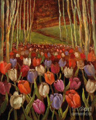 Tulips In The Woods Poster