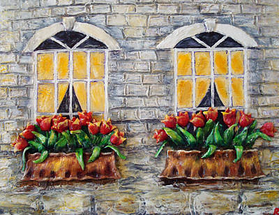 Tulips On The Wall Poster