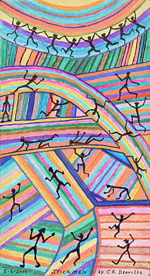 Twenty Seven Stickmen Playing On Color Poster by Carl Deaville