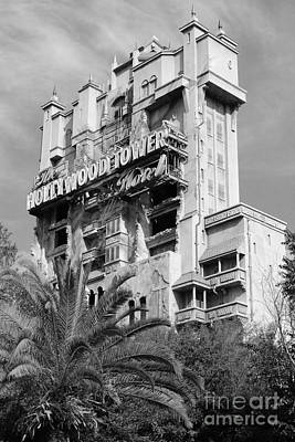Twilight Zone Tower Of Terror Vertical Hollywood Studios Walt Disney World Prints Black And White Poster