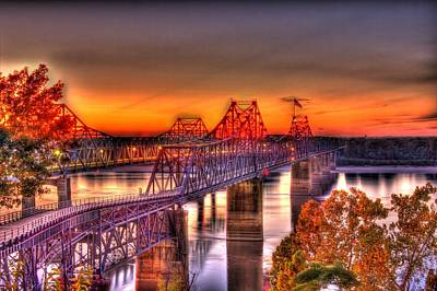 Poster featuring the photograph Twin Bridge At Sunset-hdr by Barry Jones