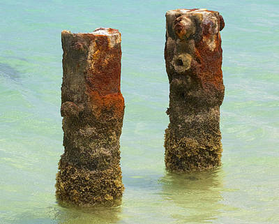 Twin Rusted Dock Piers Of The Caribbean II Poster by David Letts