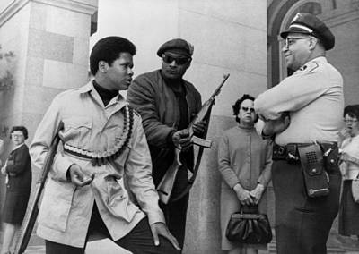 Two Armed Black Panthers, Carrying Poster