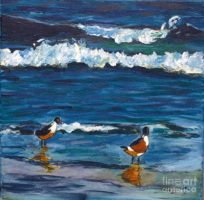 Poster featuring the painting Two Birds With Waves by Jeanne Forsythe