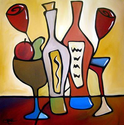 Two-fer - Abstract Wine Art By Fidostudio Poster by Tom Fedro - Fidostudio