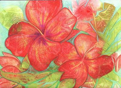 Two Hibiscus Blossoms Poster by Carla Parris