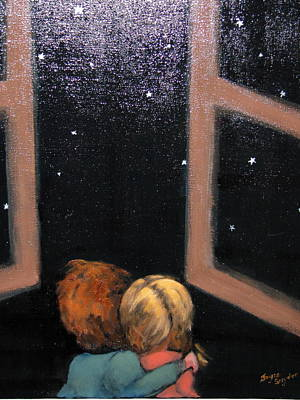 Two Kids Stargazing Poster