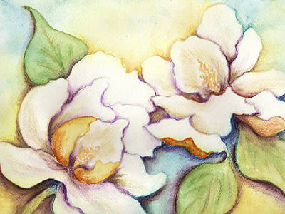 Poster featuring the painting Two Magnolia Blossoms by Carla Parris