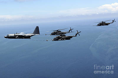 Two Mh-53 Pave Low Helicopters Poster by Stocktrek Images