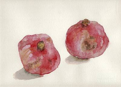 Poster featuring the painting Two Pomegranates  by Annemeet Hasidi- van der Leij
