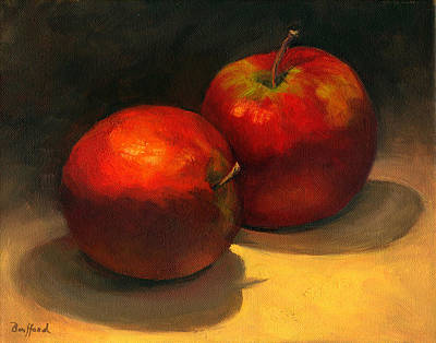 Poster featuring the painting Two Red Apples by Vikki Bouffard