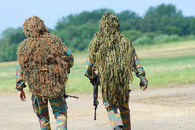Two Snipers Of The Belgian Army Dressed Poster