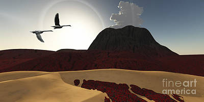 Two Swans Fly Over Cooling Lava Flows Poster