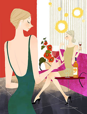Two Woman Drinking Wine Poster by Eastnine Inc.