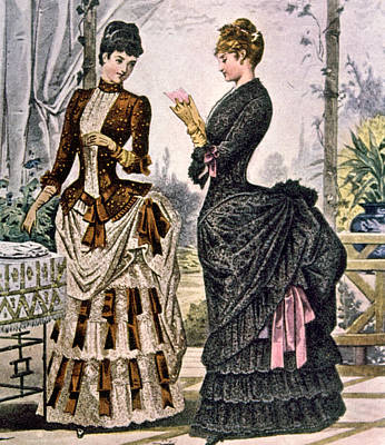 Two Women Wearing Bustle Dresses, Circa Poster by Everett