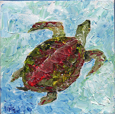 Poster featuring the painting Tybee Turtle Swimming by Doris Blessington