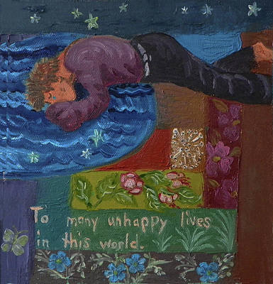 U Is For The Unfortunate Detail From Childhood Quilt Painting Poster by Dawn Senior-Trask
