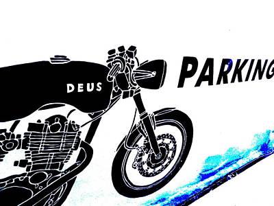 Ubud Motorbike Parking  Poster by Funkpix Photo Hunter