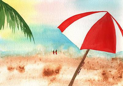 Umbrella On The Beach Poster by Sharon Mick
