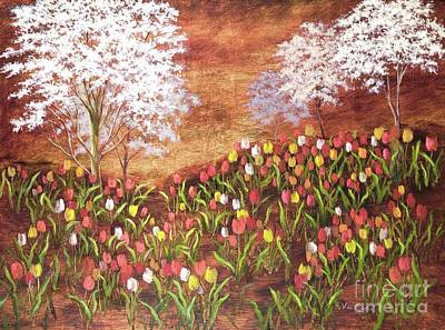 Poster featuring the painting Under The Dogwoods by Vic  Mastis