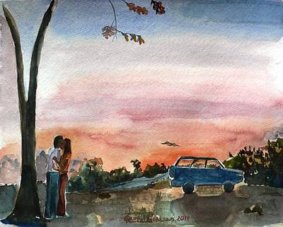 Poster featuring the painting Under The Setting Sun by Geeta Biswas
