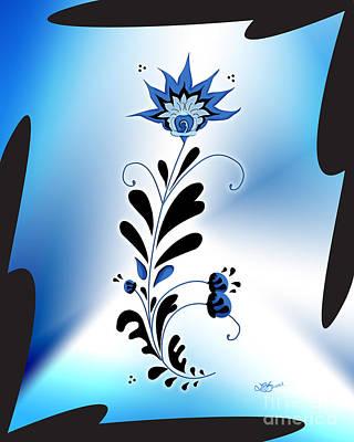 Une Fleur Tribale Bleue Encadree Poster by Linda Seacord