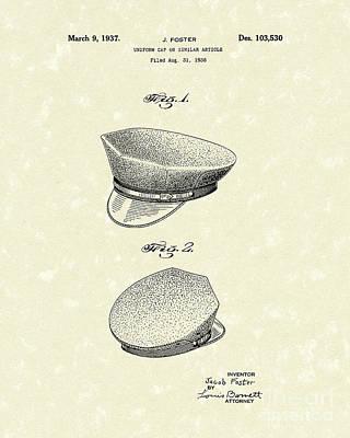 Uniform Cap 1937 Patent Art Poster by Prior Art Design