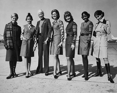 United Airlines Stewardesses Modeling Poster