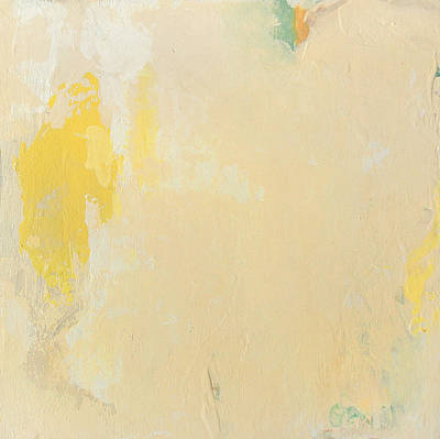 Untitled Abstract - Bisque With Yellow Poster by Kathleen Grace